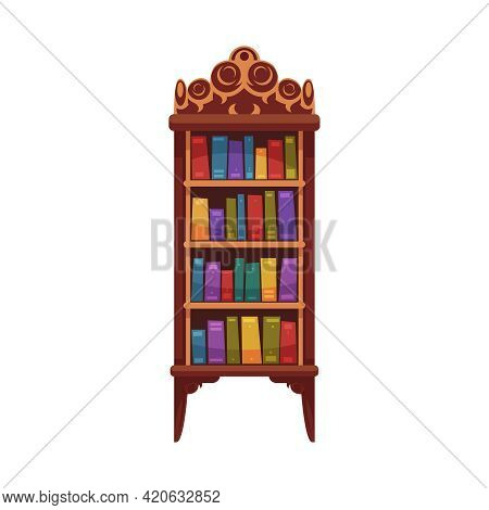 Old Library Interior Composition With Isolated Image Of Vintage Wooden Cabinet With Books Vector Ill