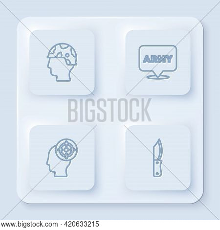 Set Line Army Soldier, Military Army, Target Sport And Knife. White Square Button. Vector