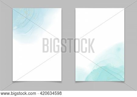 Teal Blue And Mint Colored Liquid Watercolor Background With Gold Stains And Dots. Luxury Minimal Tu