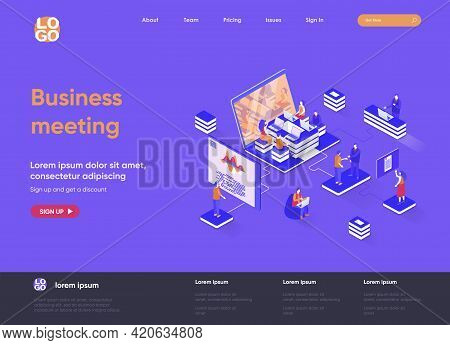 Business Meeting Isometric Landing Page. Partnership And Teamwork Collaboration, Online Meeting And