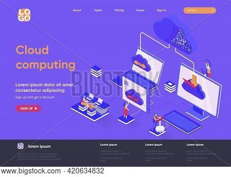 Cloud Computing Isometric Landing Page. Hosting Platform, Big Data Processing, Cloud Database Admini