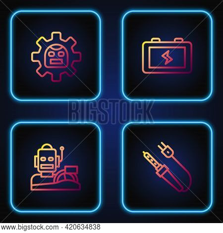 Set Line Soldering Iron, Robot Humanoid Driving A Car, And Battery. Gradient Color Icons. Vector