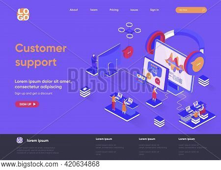 Customer Support Isometric Landing Page. Call Center Service, Online Assistance, Hotline Consultatio