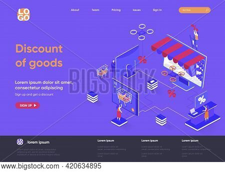Discount Of Goods Isometric Landing Page. Seasonal Discounting And Special Offer, Retail Advertising
