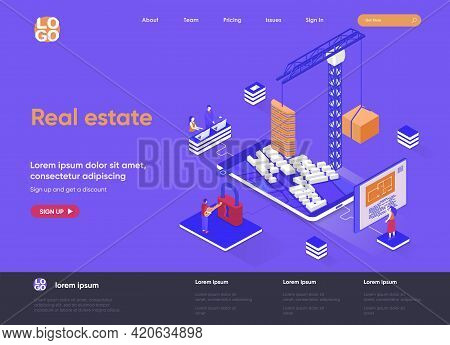 Real Estate Isometric Landing Page. Residential And Commercial Real Estate Property, Engineering And