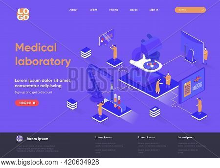 Medical Laboratory Isometric Landing Page. Pharmacy Development, Biotechnology Industry, Patient Tes