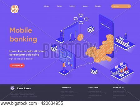 Mobile Banking Isometric Landing Page. Mobile Application For Financial Management, Online Payment A