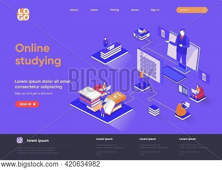 Online Studying Isometric Landing Page. Distance Learning, Online Education, Professional Seminars A