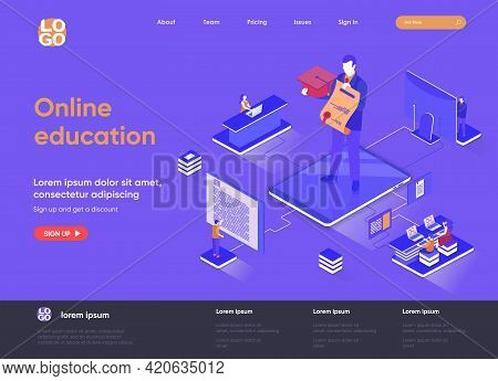 Online Education Isometric Landing Page. Distance Learning Service, Professional Courses And Skills