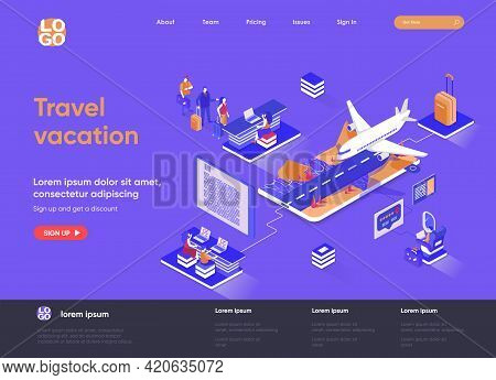 Travel Vacation Isometric Landing Page. Web Solution For Trip Organization, Online Check-in, Flight