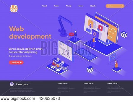 Web Development Isometric Landing Page. Full Stack Development, Software Engineering, Design And Pro