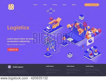Logistics Isometric Landing Page. Express Delivery Service, Global Freight Shipping, Warehousing And
