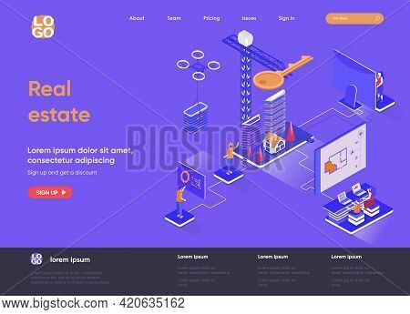 Real Estate Isometric Landing Page. Real Estate Engineering And Construction Company, Buy, Rent And