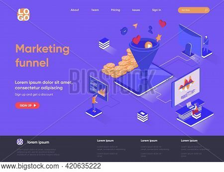 Marketing Funnel Isometric Landing Page. Marketing Research And Strategy Planning, Attraction Of New