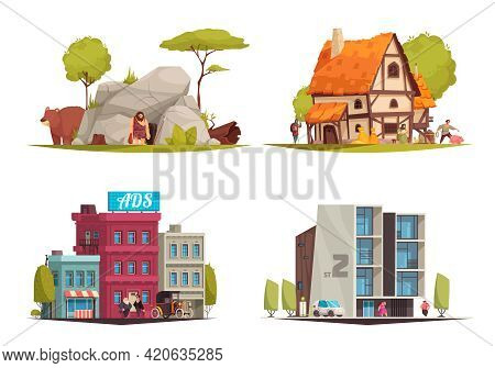 Architectural Style Different Eras Housing Evolution 4 Cartoon Compositions From Stone Age Cave To M
