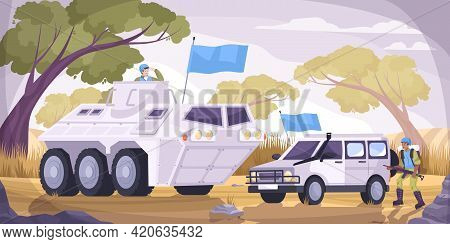 Peacekeepers Transport Flat And Colored Composition Two Military Vehicles With Blue Flags Vector Ill