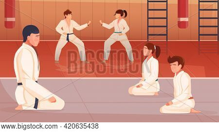 Martial Arts Flat Background With Trainer And Kids Doing Exercises In Gym Vector Illustration