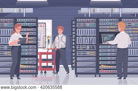 Datacenter Cartoon Composition With Indoor View Of Room With Server Cabinets And Doodle Characters O