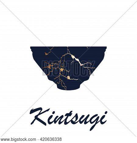 Renovated Kintsugi Japanese Vase Art Color Sketch Engraving Illustration. Kintsugi Inscription