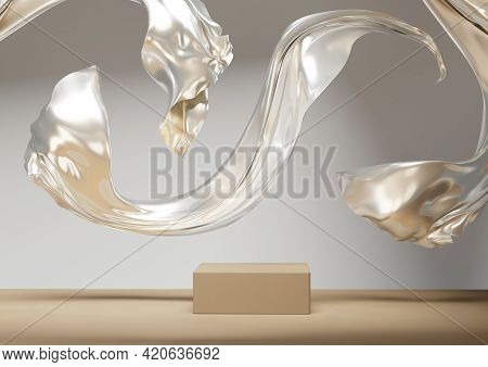 3d Background Podium Display, Beige Abstract Metallic Gold Cloth Flying, Levitating. Nature, Nude Pe