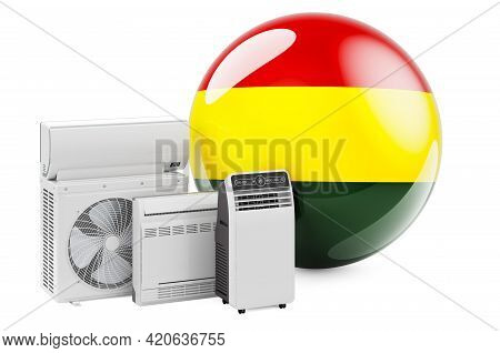 Bolivian Flag With Cooling And Climate Electric Devices. Manufacturing, Trading And Service Of Air C