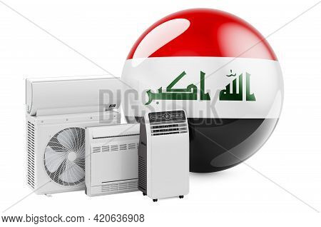 Iraqi Flag With Cooling And Climate Electric Devices. Manufacturing, Trading And Service Of Air Cond