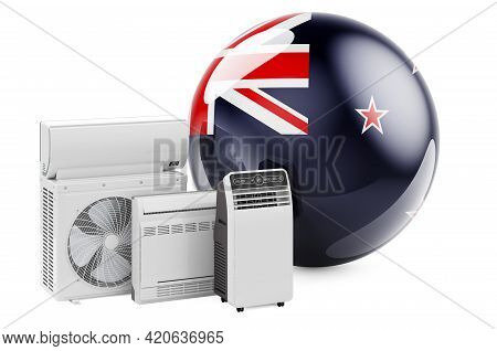 New Zealand Flag With Cooling And Climate Electric Devices. Manufacturing, Trading And Service Of Ai