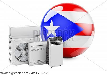 Puerto Rican Flag With Cooling And Climate Electric Devices. Manufacturing, Trading And Service Of A