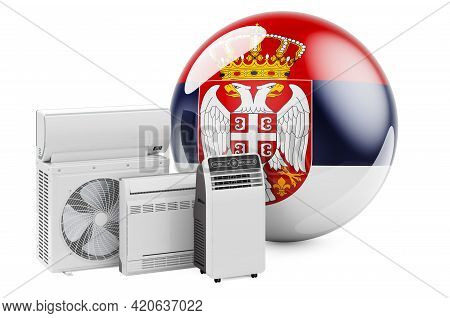 Serbian Flag With Cooling And Climate Electric Devices. Manufacturing, Trading And Service Of Air Co