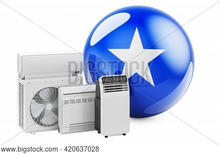 Somali Flag With Cooling And Climate Electric Devices. Manufacturing, Trading And Service Of Air Con