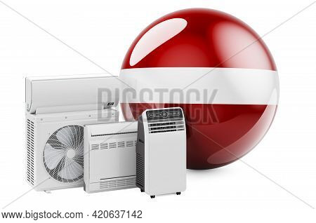 Latvian Flag With Cooling And Climate Electric Devices. Manufacturing, Trading And Service Of Air Co