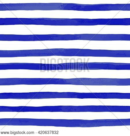 Beautiful Seamless Pattern With Blue Watercolor Stripes. Hand Painted Brush Strokes, Striped Backgro