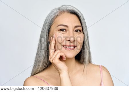 Mature Beautiful Smiling Middle Aged Asian Woman, Senior Older Grey Haired Lady Looking At Camera Ad