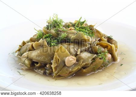 Broad Bean And Dill In The White Plate With White Background. Close Up Broad Bean.