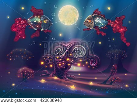 Under Water Fantasy World With Magic Fishes In Dark Sea Or Ocean With Unusual Trees, Forest, Bright