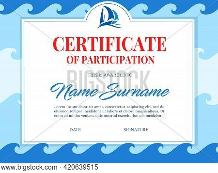 Yachting Club Regatta, Marine Sailing Victory Certificate. Yachts Or Sailboats Sailing On Sea Waves