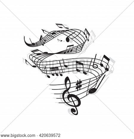 Musical Wave Of Vector Music Notes, Treble Clef, Sharp Symbol And Bar Lines On Swirling Stave With S