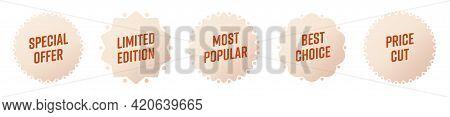 Sale Sticker Set. Starburst Sticky Badge Design With Special Offer, Limited Edition, Most Popular, B