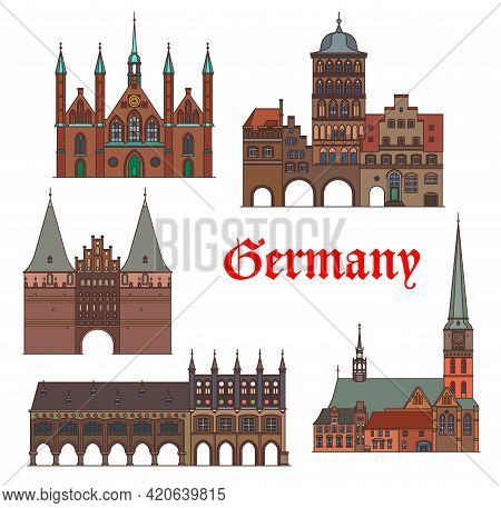 Germany Architecture Of Lubeck, Travel Landmark Buildings Of Schleswig Holstein, Vector. German Arch