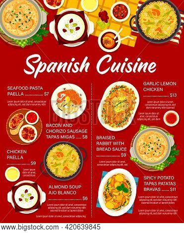 Spanish Cuisine Vector Menu Seafood Pasta Paella, Braised Rabbit With Bread Sauce And Almond Soup Aj