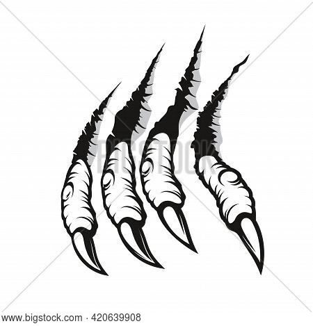 Dragon Claw Marks, Monster Fingers With Long Nails Scratch And Tear Through Paper Or Wall. Vector Wi