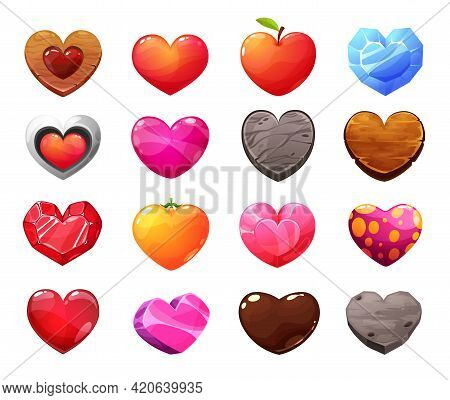 Cartoon Hearts Icons. Wooden, Apple And Orange Fruit, Gemstone, Crystal, Glass And Concrete, Stone,