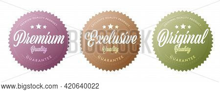 Premium, Exclusive, Original Quality Guarantee Sticker Set. Approval Sticker For Certificate. Assura