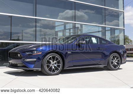 Kokomo - Circa May 2021: Ford Mustang Display At A Dealership. Ford Offers The Mustang In A Base Mod