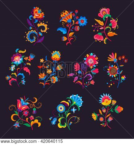 Mexican Flowers And Florals Vector Set Of Bright Colorful Blooming Plants With Mexico Ethnic Or Folk