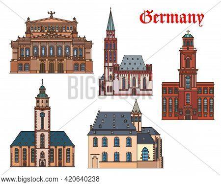Germany, Architecture Of Frankfurt, Buildings And Vector Travel Landmarks. St Catherine, Saint Paul