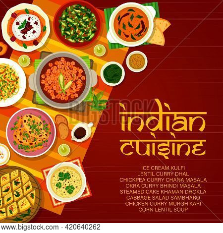 Indian Restaurant Menu Cover With Vector Curry Dishes Of Vegetable And Meat Food. Asian Cuisine Chic
