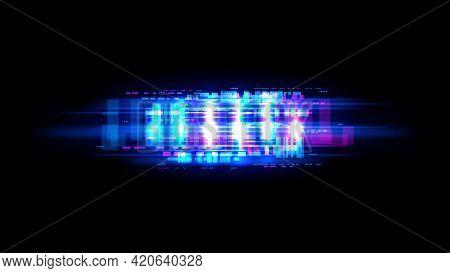 Screen Glitch Effect, Broken Computer Monitor Or Tv Signal Loss Vector Background. Bright White Gaps