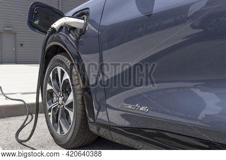 Kokomo - Circa May 2021: Ford Mustang Mach-e Suv Display At A Charging Station. The Mustang Mach-e I