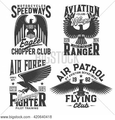 Eagle T-shirt Print With Aviation, Motorcycle Races And Fight Club Vector Emblems. Gothic Eagle With